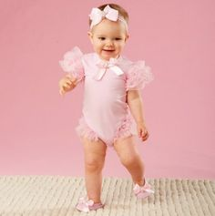 Jeweled Baby Mesh Ruffle Crawler - Fast Ship: Newborn Girls' Playwear - Events