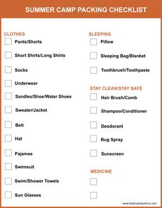 Summer Camp Packing Checklist with 2 pages of items that you don't want to forget #summercamp #camping #checklist