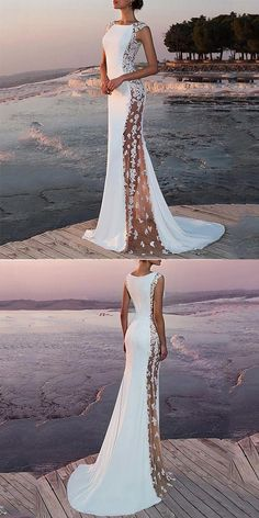 Sexy round neck see through sleeveless fishtail evening dresses, sexy and elegant style, shop now! Engagement Party Dresses, Best Wedding Dresses, Bridal Dresses, Bridesmaid Dresses, Dresses Dresses, Wedding Gowns, Beautiful Gowns, Dream Dress, The Dress