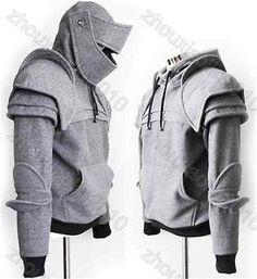 Light Gray Armored Knight Custome Hoodie sweats (100% Handmade) Made To Order