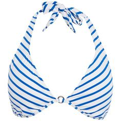 Polo Ralph Lauren Bengal stripes ring front halterneck bikini top ($40) ❤ liked on Polyvore featuring swimwear, bikinis, bikini tops, blue, clearance, halter swim top, halter-neck bikinis, halter neck bikini top, blue tankini top and halter neck bikini