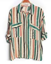 Green Striped Lapel Bat Sleeve Loose Blouse $33.00