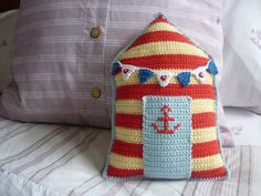 Beach Hut Cushion A Crochet PDF Pattern by AnnaboosHouse on Etsy