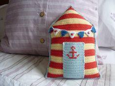Beach Hut Cushion A Crochet PDF Pattern by AnnaboosHouse on Etsy