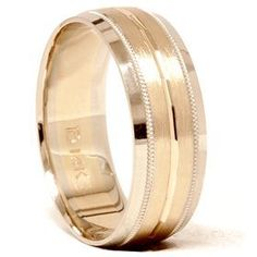 Mens 14K Gold 8MM Comfort Fit Two Tone Wedding Band Pompeii3 Inc.. $499.00