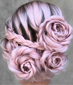 Braided Rose Hairstyle Transforms Ordinary Locks Into a Beautiful Blooming Updo . - Braided Rose Hairstyle Transforms Ordinary Locks Into a Beautiful Blooming Updo – Use BB Hair Ext - Pretty Hairstyles, Braided Hairstyles, Wedding Hairstyles, Rose Hairstyle, Flower Hairstyles, Braided Updo, Homecoming Hairstyles, Wedding Updo, Winter Hairstyles