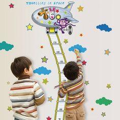 Chic Cartoon Animals Plane Pattern Height Wall Sticker For Kindergarten Children's Bedroom Custom Wall Stickers, Cheap Wall Stickers, Kids Room Wall Decals, Height Chart, Nursery Decor, Baby Kids, Kindergarten, Kids Rugs, Cartoon