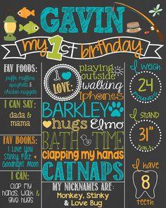 Fishing Theme Birthday Chalkboard Poster // Customized Printable Birthday Board // Personalized Boy Chalk Board // Gone Fishing // Fish by PersonalizedChalk
