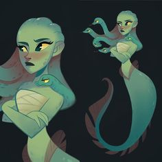Finished a mermedusa yesterday   •  •  •  #art #characterdesign #dailyart #dailydrawing #medusa #mythology #mermaid #snakes #instaartist
