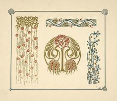 tattoo thistle Art nouveau floral, plant and flower graphics design. Free tattoo templates and Art deco decoration for Fleurs Art Nouveau, Motifs Art Nouveau, Design Art Nouveau, Motif Art Deco, Art Nouveau Pattern, Art Deco Decor, Pattern Art, Circle Pattern, Art Nouveau Tattoo