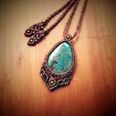 """#turquoise #jewellery #boho #necklace #pendant #macrame #macramejewelry #stone #healing #handmade #handmadejewelry #new #アクセサリー#ターコイズ #マクラメ #ハンドメイド…"""