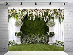 Kate Wedding Backdrop for Photography Flowers Wall White Curtians Photo Backdrops Wedding Background Photo Backdrops, Photography Backdrops, Wedding Background, Photography Flowers, Flower Wall, Outdoor Structures, Amazon, Plants, Amazons