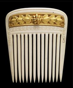 Hair Comb, Gold, ivory. Fortunato Pio Castellani (Italian, 1860-1862)Hair Comb, Gold, ivory. Fortunato Pio Castellani Italian, 1860-1862 Founder jewelry co that carries his name,  Fortunato opened his first shop in Rome in 1814. He specialised in recreating ancient craftsmenship, particularly the Etruscans. He based many of his designs on archaeological evidence and often incorporated intaglios cameos micromosaics,his work became very fashionable throughout 19th century Europe