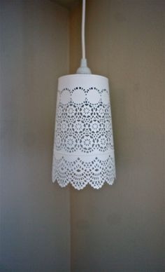 White Lace Hanging Pendant Light  Large by lightpaper on Etsy, $50.00