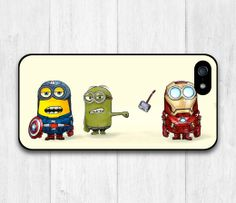 The Avenger Minion Protective Cover Case For iPhone 5 5S (Black or White Side)