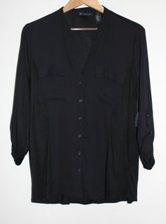 $39.95 OBO International Concepts INC Black Button Down 3/4 Sleeve Rolled Top XL Jubilant #InternationalConceptsINC #ButtonDownShirt #Versatile