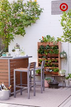 Turn your backyard or patio into a party this summer: Set the lush, natural scene with a modern Bryant outdoor bar, an eye-catching vertical garden and a mix of potted plants and flowers. Invite friends for a sunny-day brunch and whip up a pitcher of cocktails using freshly grown herbs and just-picked fruit—it'll be the hit of the season.