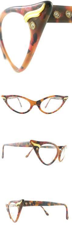 Eyeglasses 175805: Vintage Cat Eye Glasses Eyeglasses Sunglasses Frame Eyewear Marbled Navy Browns -> BUY IT NOW ONLY: $140 on eBay!