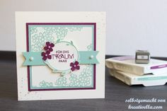 Hochzeitskarte Hochzeitspapeterie Minze Himbeerrot romantisch Sommerhochzeit Birthday Blossom Stampin' Up!