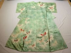 Japanese Vintage Kimono Silk Silky Green Butterfly P112956 | eBay