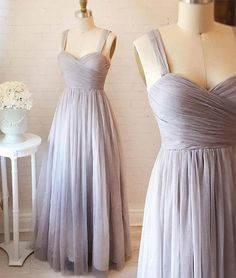Gray sweetheart neck tulle long prom dress, gray evening dress for teens