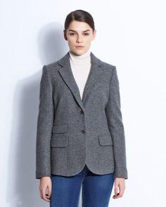 Grey herringbone jacket from Paul Costelloe Living Studio Herringbone Jacket, 21st Century, Latest Fashion, Fashion Outfits, Blazer, Studio, Grey, Coat, Clothing