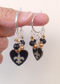 New Orleans Saints Earrings, Saints Bling, Black and Gold Pearl and Crystal Earrings, Pro Football Saints Jewelry Accessory Fanwear by scbeachbling on Etsy