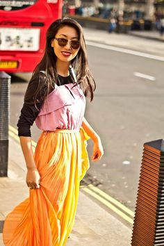 Ashon Fashionary: Pleated Midi Dress in Fall