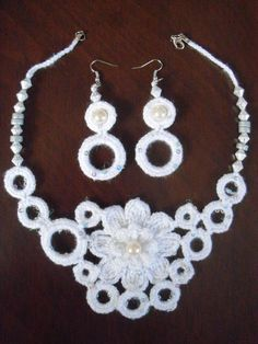 women's snowwhite necklace and wonderful earring by colourfulrose, $20.50