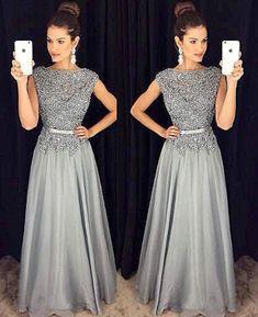 Dark Grey Lace Appliqued Long Prom Dress,Senior Prom