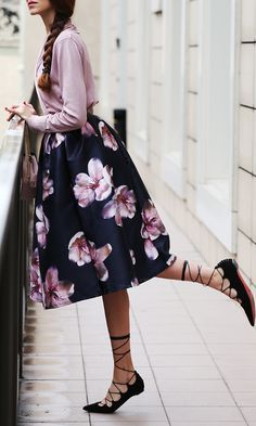 Peach Blossom Floral Midi Skirt