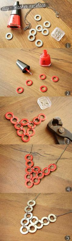 ➳➳➳☮American Hippie DIY - Easy necklace from washers and polish