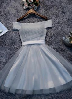 Customized Nice Grey Homecoming Dress Off Shoulder Grey Tulle Cheap Short Prom Dresses Homecoming Dresses Cheap Short Prom Dresses, A Line Prom Dresses, Grad Dresses, Dress Outfits, Grey Short Dresses, Short Tulle Dress, Orange Prom Dresses, Homecoming Outfits, 1950s Dresses