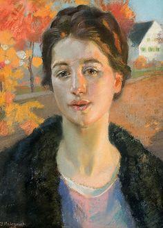Portrait in the autumn sun, pastels on cardboard, 1916 by Jacek Malczewski, (Polish 1854-1929)