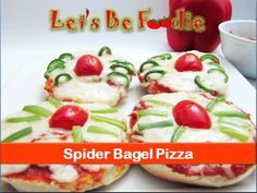Mini pizza recipe/Spider bagel pizza/ Halloween pizza - Halloween kids treat -by let's be foodie - YouTube