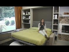 Multifunctional space saving wall bed murphy bed with sofa and bookshelf queen/king size - YouTube