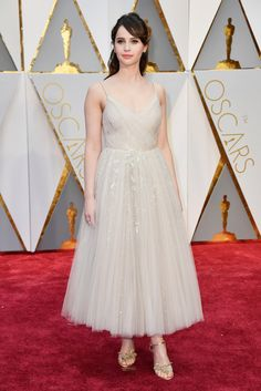 Felicity Jones in Christian Dior Couture and Christian Louboutin shoes