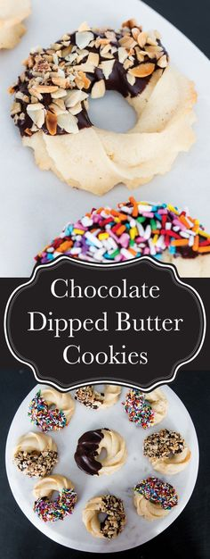 Crisp and delicate butter cookies dipped in dark chocolate and covered with toasted almonds (or sprinkles) (fancy xmas cookies) Fancy Cookies, Yummy Cookies, Cake Cookies, Christmas Cookies, Christmas Treats, Cupcakes, Delicious Cookie Recipes, Sweet Recipes, Baking Recipes