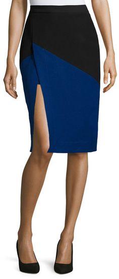 BCBGMAXAZRIA Colorblock Front-Slit Skirt, Black/Royal Blue