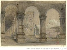 [La reine de Chypre : esquisse de décor de l'acte I / Charles Cambon] - 1841