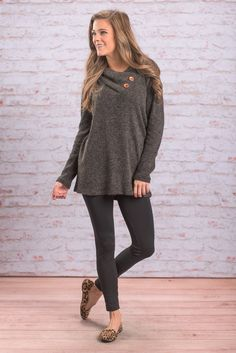 """""""Perfect Example Tunic, Charcoal"""" This tunic is the perfect example of casual and cute! The fit is loose yet still flattering! The button detailing at the neckline is so trendy and we love the loose cowl neck!  #Newarrivals #shopthemint"""