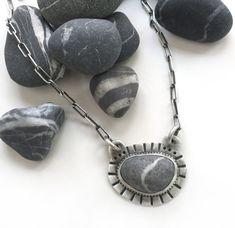 Lake Erie Beach Stone Grey Wishing Stone Bezel Set by SToNZ