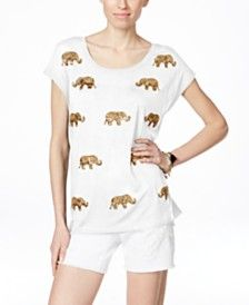 INC International Concepts Elephant Sequined T-Shirt, Only at Macy's