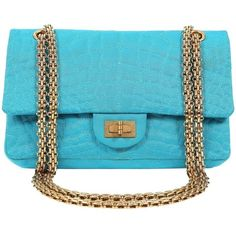 Preowned Chanel Turquoise Satin 2.55 Reissue Bag With Gold Hw ($2,995) ❤ liked on Polyvore featuring bags, handbags, blue, structured shoulder bags, chanel shoulder bag, shoulder bag purse, quilted handbags, crocodile handbags and gold purse