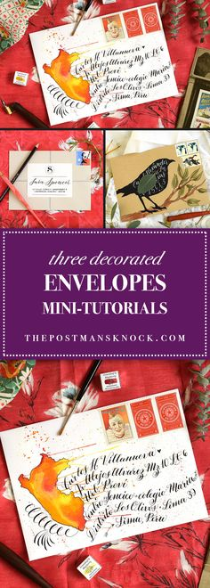 Every week or so, I post a decorated envelopes tutorial on the TPK Facebook page. This article is a collection of three of those Facebook tutorials!