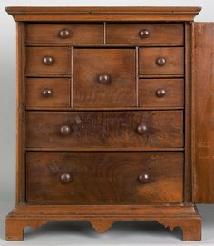 Chester County, Pennsylvania Chippendale walnut spice box, ca. 1765.  Interior view of 9 drawers.