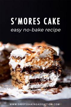 No-Bake S'mores Cake Has 14 Layers Including Graham Cracker, Chocolate Ganache, And Marshmallow Meringue Recipe On Smores Dessert, Smores Cake, Köstliche Desserts, Sweets Recipes, Chocolate Desserts, Chocolate Ganache, Delicious Cake Recipes, Yummy Cakes, Icebox Cake Recipes