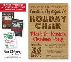 Christmas Party Invitation. Personalized Printable by NineEighteen #ChristmasParty #EatDrinkBeMerry #JingleMingle #Personalized #Christmas2016 #MerryAndBright #etsy #PrintableInvitation #NineEighteen #NineEighteenHolidays