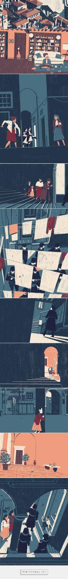 It's Nice That : Matteo Berton's considered illustrations of a Nazi raid on a Jewish community - created via http://pinthemall.net