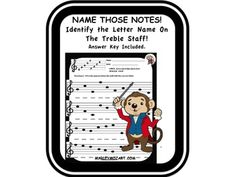 Naming notes on the Treble Staff. Music Education Activities, Music Notes, Music Stuff, Worksheets, Classroom, Student, Names, Key, Lettering